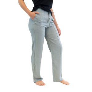 Yogabroek grijs dames - eco bio katoen broek - getaillieerd